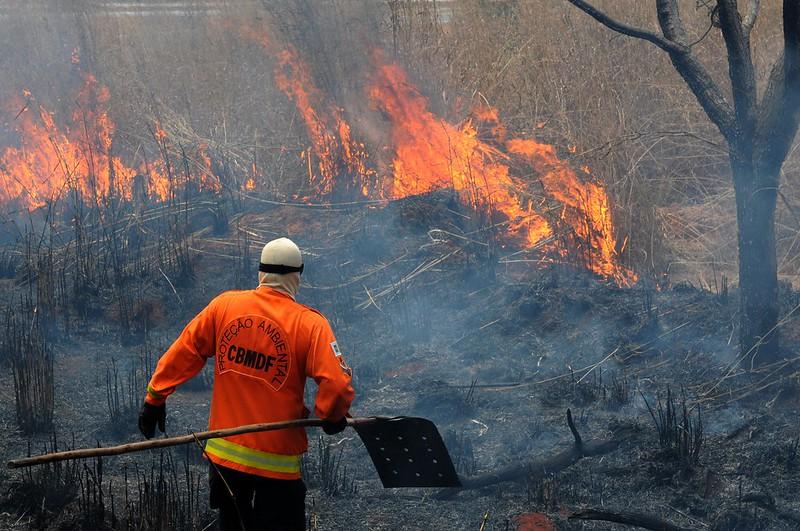 Corpo de Bombeiros do Distrito Federal combate incêndio em área de cerrado próxima a Planaltina